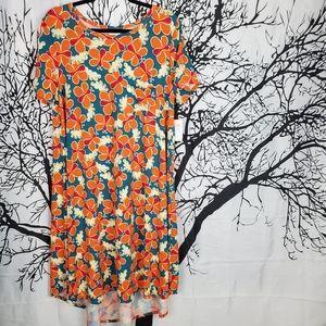 LuLaRoe Carly Dress Teal & Orange Butterfly Print